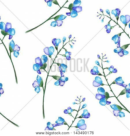 Seamless floral pattern with the branches of blue flowers (bluebell), painted in a watercolor on a white background