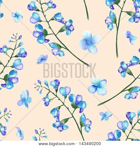 Seamless floral pattern with the branches of blue flowers (bluebell), painted in a watercolor on a pink background