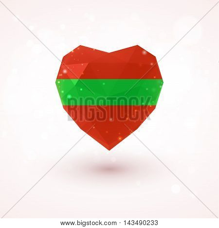 Flag of Transnistria in shape of diamond glass heart in triangulation style for info graphics, greeting card, celebration of Independence Day, printed materials