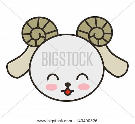 cute goat animal tender isolated icon vector illustration design