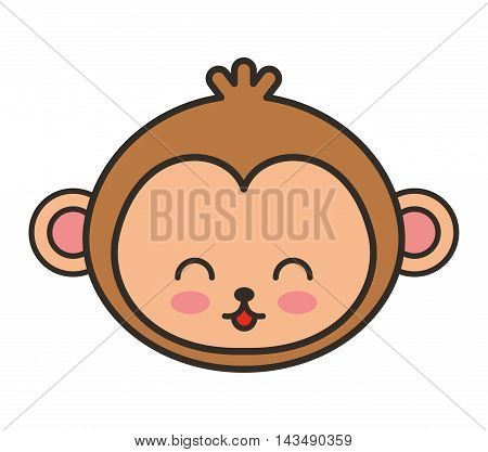 cute monkey animal tender isolated icon vector illustration design