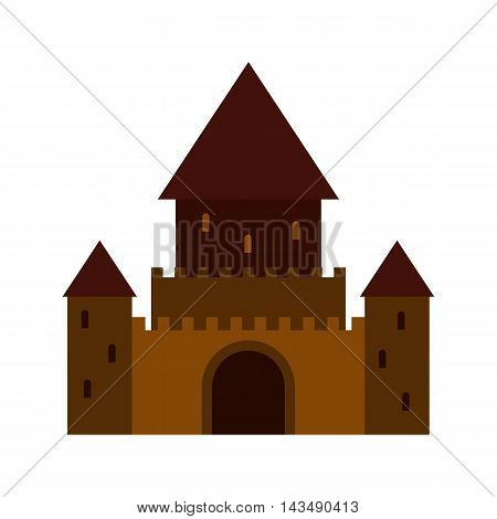 Ancient palace icon in flat style isolated on white background. Structure symbol