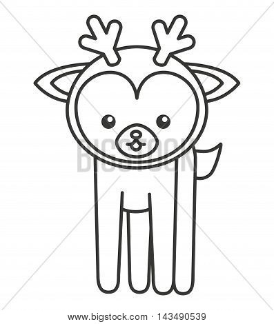 cute deer animal tender isolated icon vector illustration design