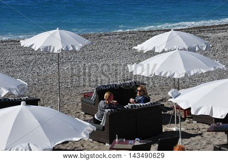 Nice France - april 19 2016 : the beach near la Promenade des Anglais