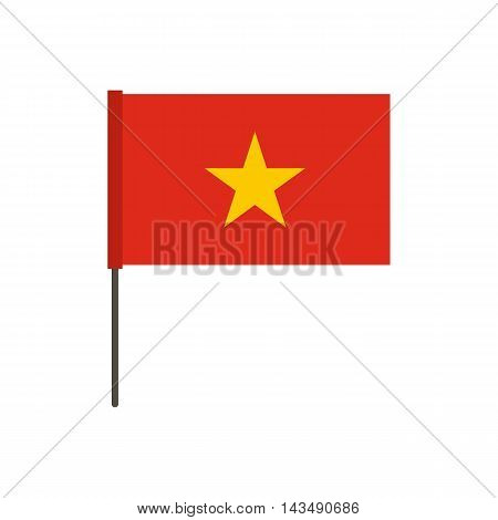Flag of Vietnam icon in flat style isolated on white background. State symbol