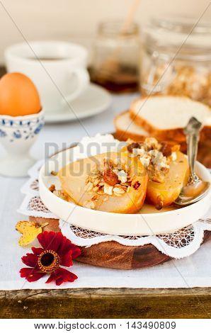 Honey Roast Pears With Granola And Yogurt