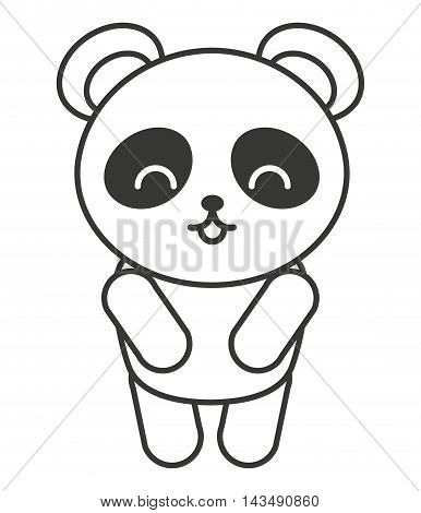 cute bear panda animal tender isolated icon vector illustration design