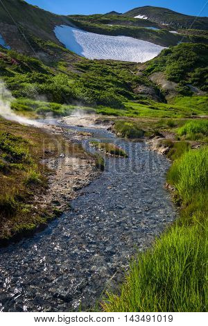 Small river on the slopes of Mutnovsky volcano, Kamchatka, Russia