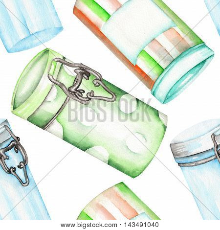 A seamless pattern with the isolated cans and glass jars. Painted hand-drawn in a watercolor on a white background.