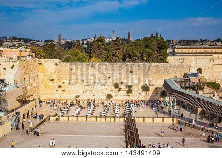 The area of the Western Wall of the Temple. Autumn holiday Sukkot. Soon evening