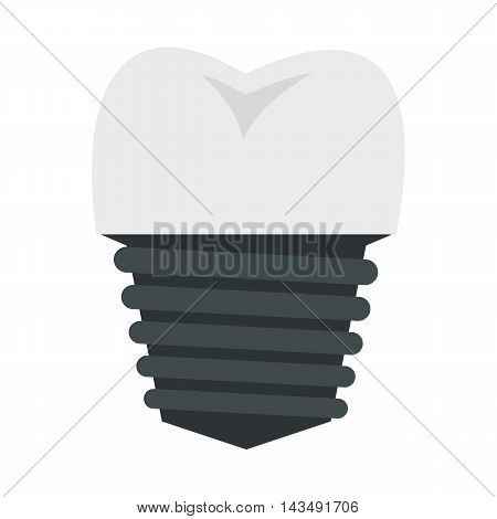 Screw tooth implant icon in flat style isolated on white background. Dentistry symbol