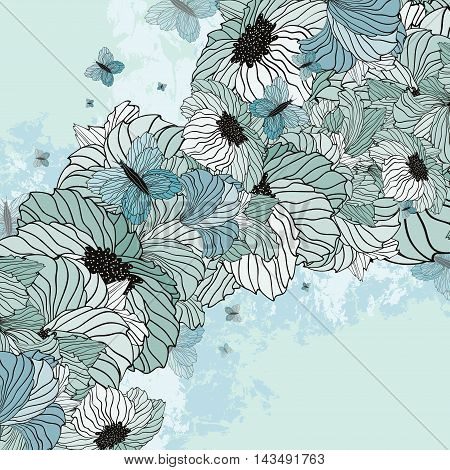 Summer Floral Background With Butterflies On A Grunge Crackd Background