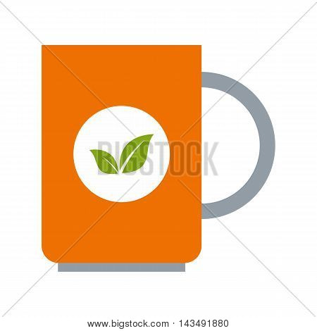 Mug of green tea icon in flat style isolated on white background. Drink symbol