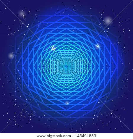 Sacral symbol in the space, on deep blue sky with stars. Spiritual design. The passage of time in universe