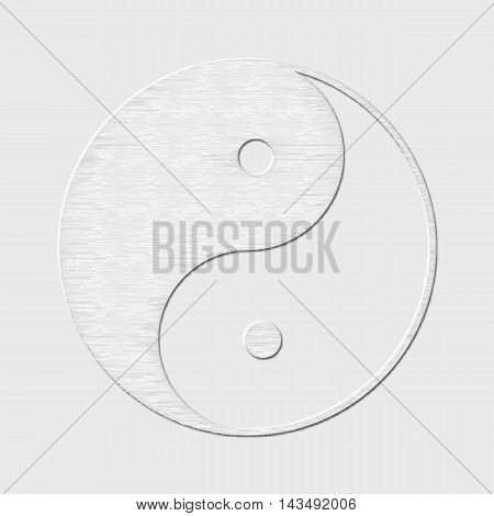 Symbol of yin and yang, the emblem of Taoism made of paper. White design for meditation, spiritual geometry