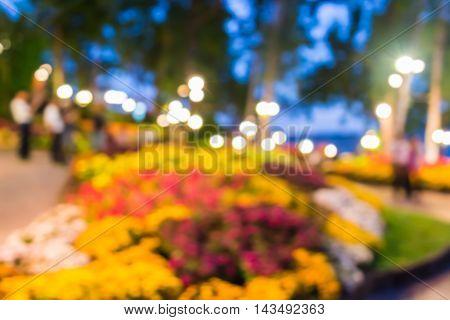 Blur Restaurant With Flower Garden