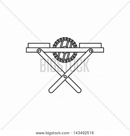 Power-saw bench icon in outline style isolated on white background