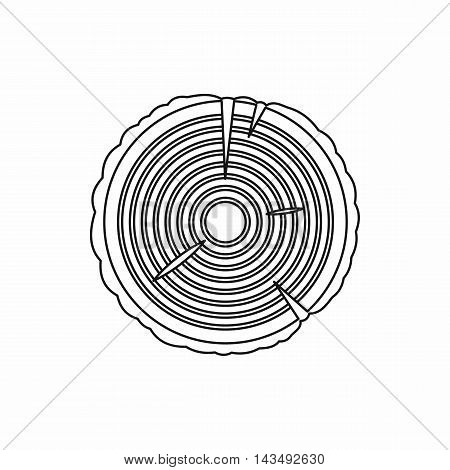 Tree rings icon in outline style isolated on white background