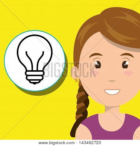 girl young student school vector illustration design