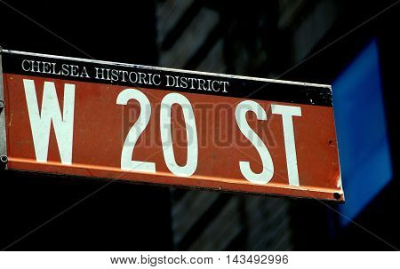 New York City - July 24 2009: West 20th Street sign in the Chelsea Historic District