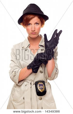 Red Haired Female Detective Putting on Gloves Wearing a Badge, Trench Coat and Hat Isolated on a White Background.