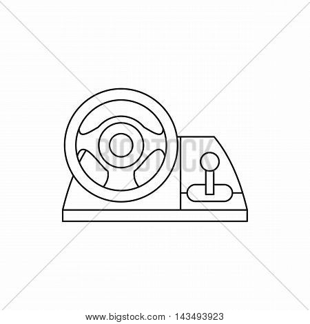 Game controller, steering wheel icon in outline style isolated on white background