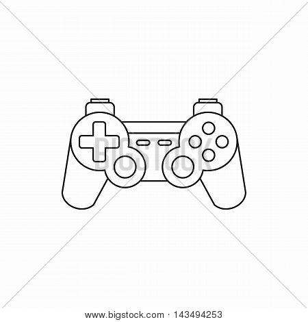 Joystick for gaming console icon in outline style isolated on white background