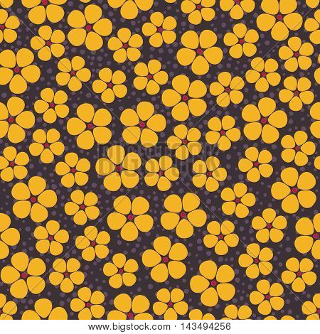 Seamless background with abstract yellow flowers on brown spotty backdrop
