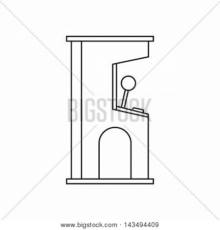 Arcade game machine icon in outline style isolated on white background