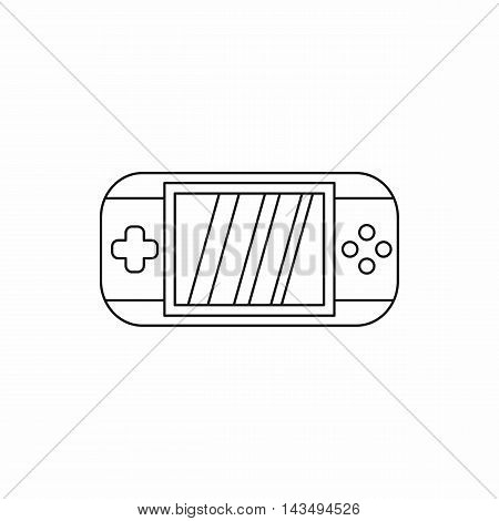 Mobile gaming console icon in outline style isolated on white background