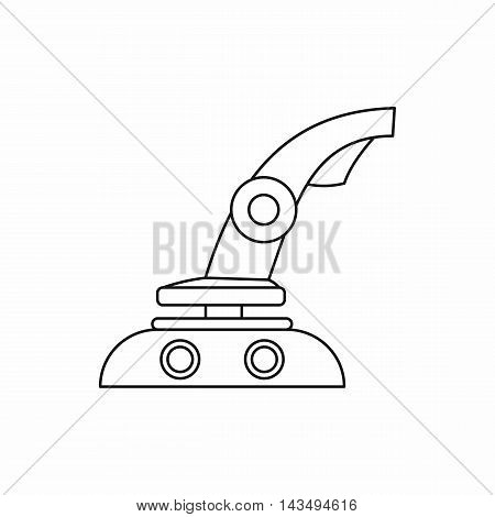 Computer video game joystick icon in outline style isolated on white background