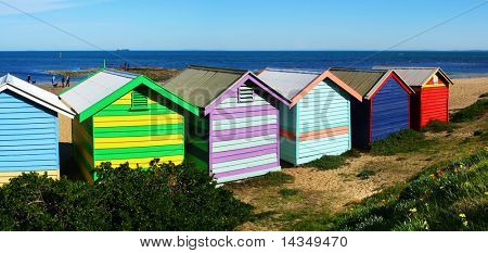 "Brightly colored ""bathing boxes"" at Brighton Beach, Melbourne, Australia"
