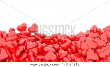 3d rendering Vibrant red hearts on white backdrop from above.copy space.