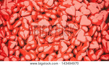Close-up of 3d rendered red hearts in pile
