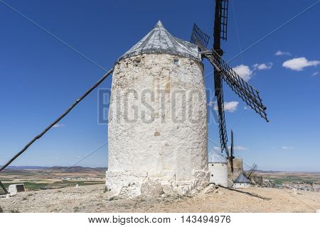Tourism, windmills of Consuegra in Toledo, Spain. They served to grind grain crop fields