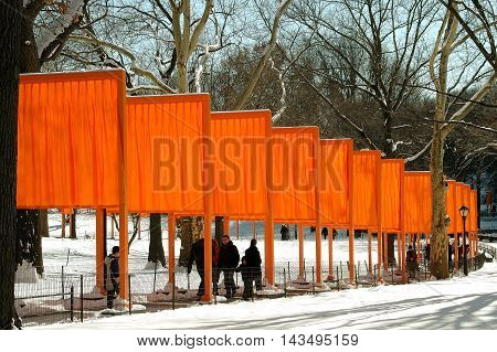 New York City - February 25 2005: The artist Christo's public art installation The Gates in Central Park