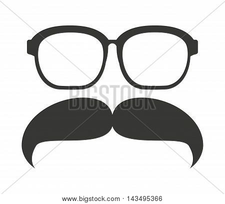 mustache and glasses hipster style vector illustration design