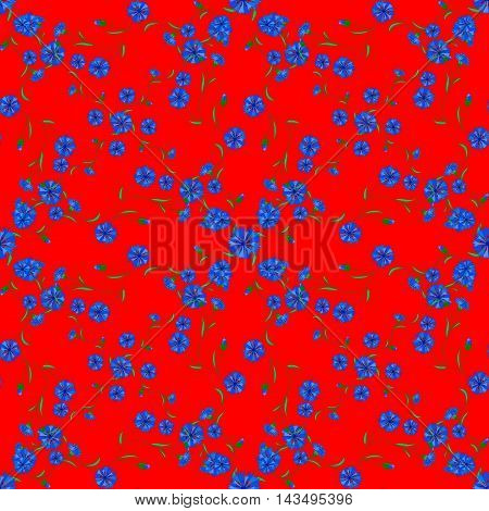 Vector seamless background with blue flowers pattern.