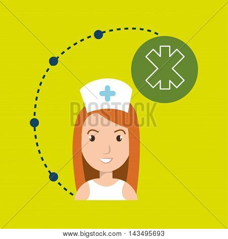 woman medical staff service vector illustration design
