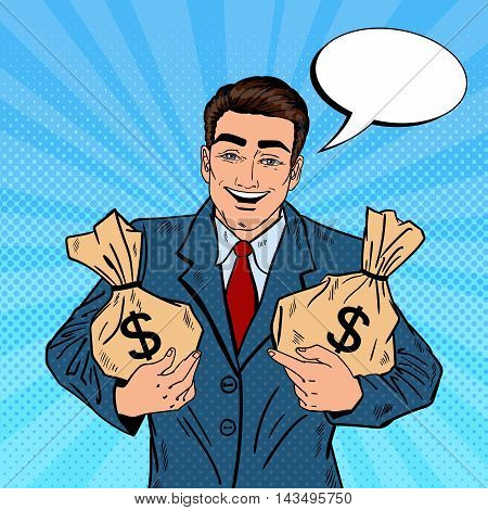 Smiling Businessman Holding Money Bags. Pop Art Vector illustration
