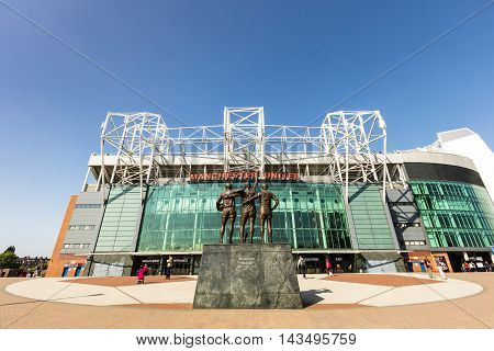 MANCHESTER, ENGLAND - MAY 29: Old Trafford stadium is home to Manchester United one of the wealthiest and most widely supported football teams in the world. May 29, 2016, Manchester, UK.