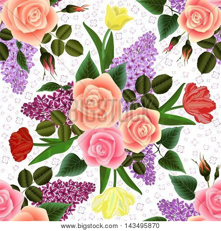 Illustration of seamless floral pattern with roses tulips and lilac flowers isolated