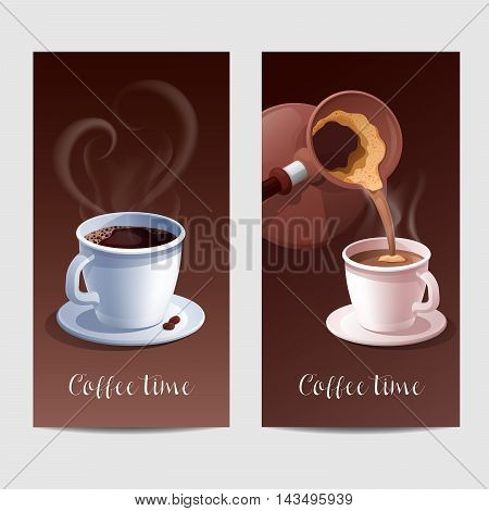 Coffee Time Banner with Coffee Cup and Heart Shaped Steaming. Vector illustration