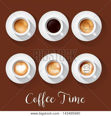 Realistic Coffee Cups with Americano Latte Espresso Macchiatto Mocha Cappuccino. Vector illustration