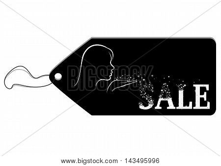 Black label depicting a girl blows away tinsel from her palm and they add up to a word Sale