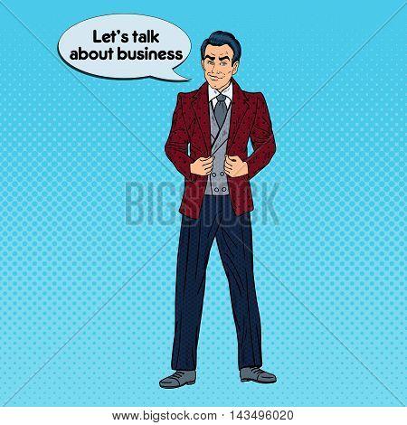 Handsome Confident Businessman Portrait. Pop Art Vector illustration