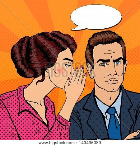 Young Woman Whispering Secret to her Husband. Pop Art Vector illustration