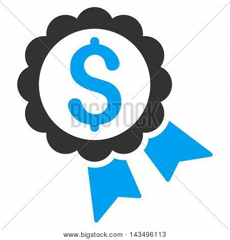 Banking Award Seal icon. Vector style is bicolor flat iconic symbol with rounded angles, blue and gray colors, white background.