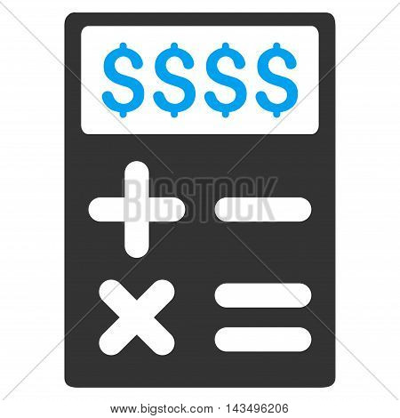 Business Calculator icon. Vector style is bicolor flat iconic symbol with rounded angles, blue and gray colors, white background.