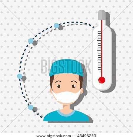 man medical staff thermometer vector illustration design